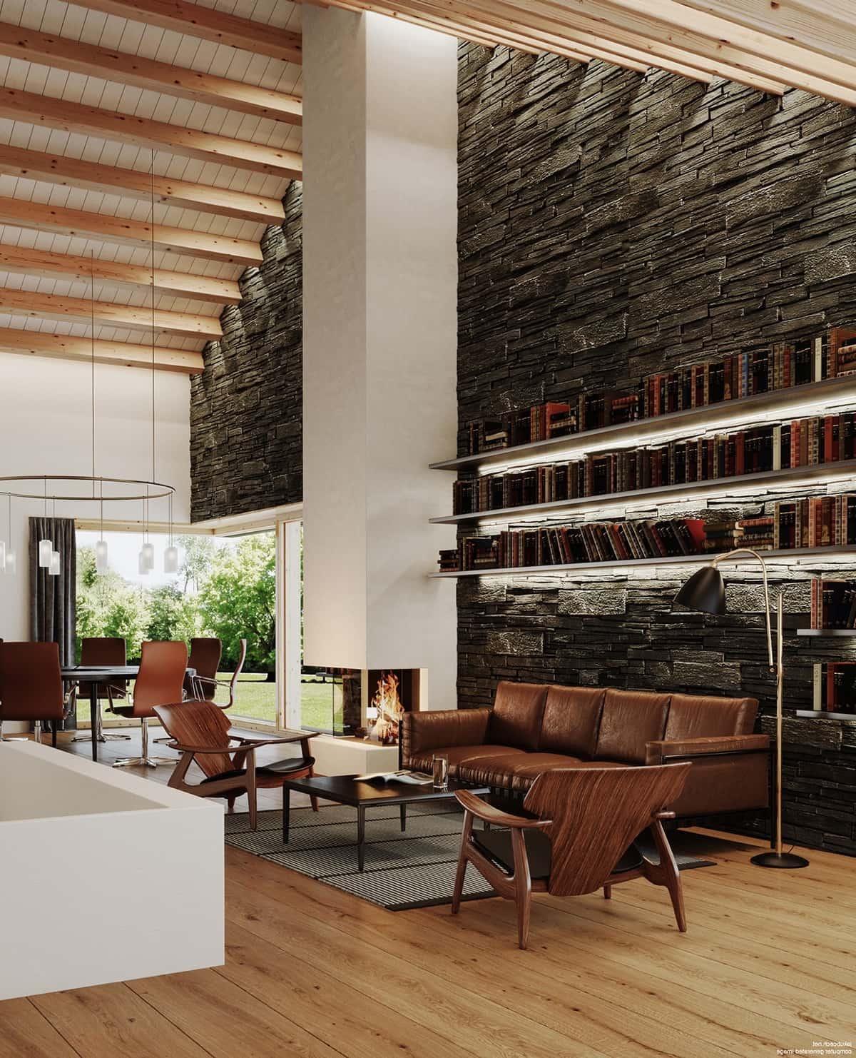 Для комфортного отдыха диван и кресла нежелательно располагать рядом с камином, лучше разместить их в непосредственной близости от него