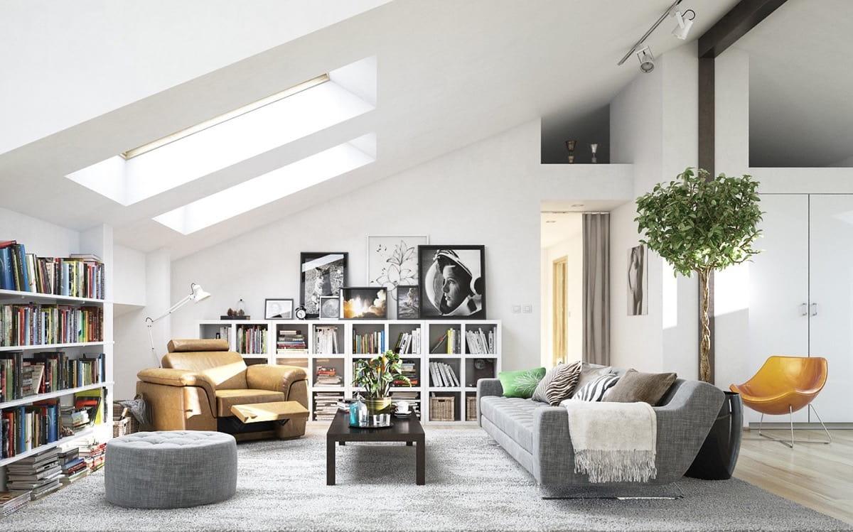Серый низ белый верх - частый прием стильного скандинавского интерьера