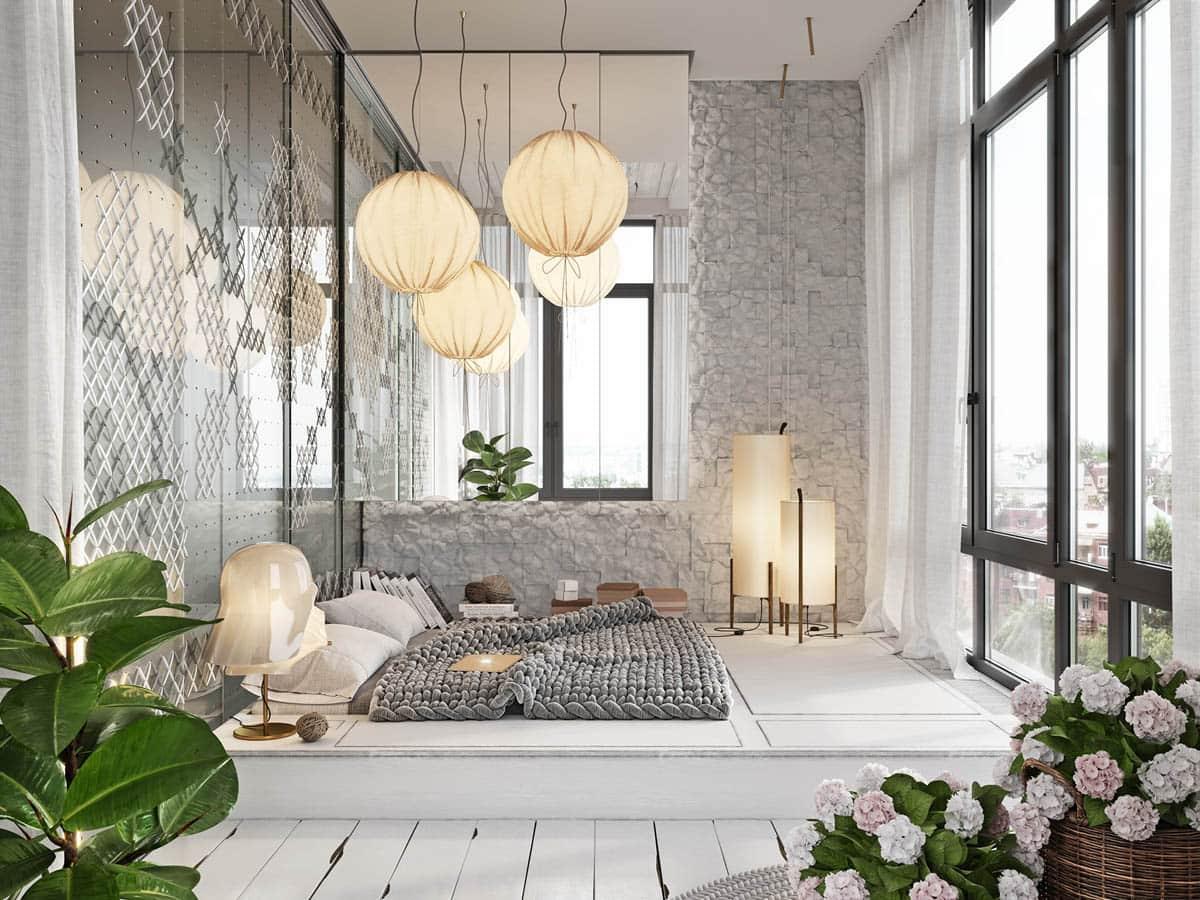 окна в пол в спальне