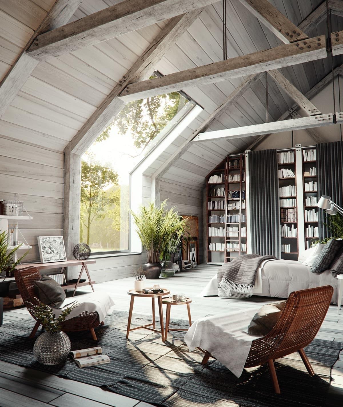 Шикарная спальня с большим панорамным окном