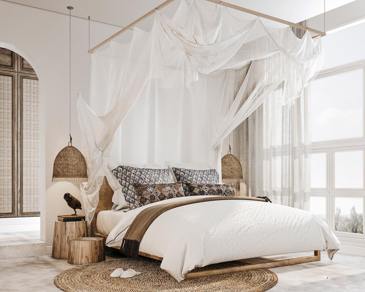 Легки тюль, из которого сделан балдахин в этой спальне, придает помещению легкость и умиротворение