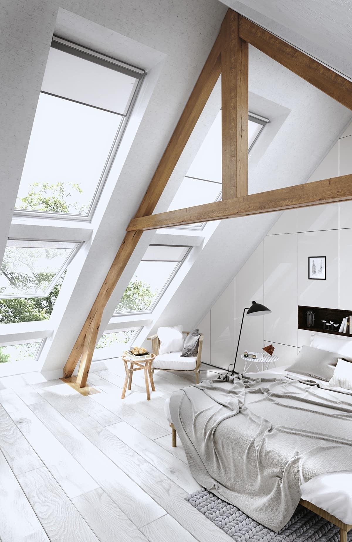 Белая спальня смотрится стильно, если эту монохромную гамму разбавляет эффектный элемент декора, например деревянные балки