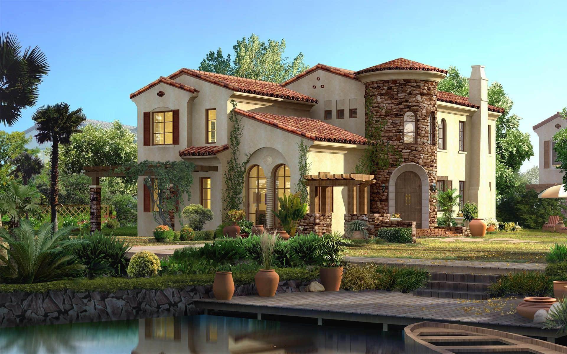 Красивый дом в мавританском стиле