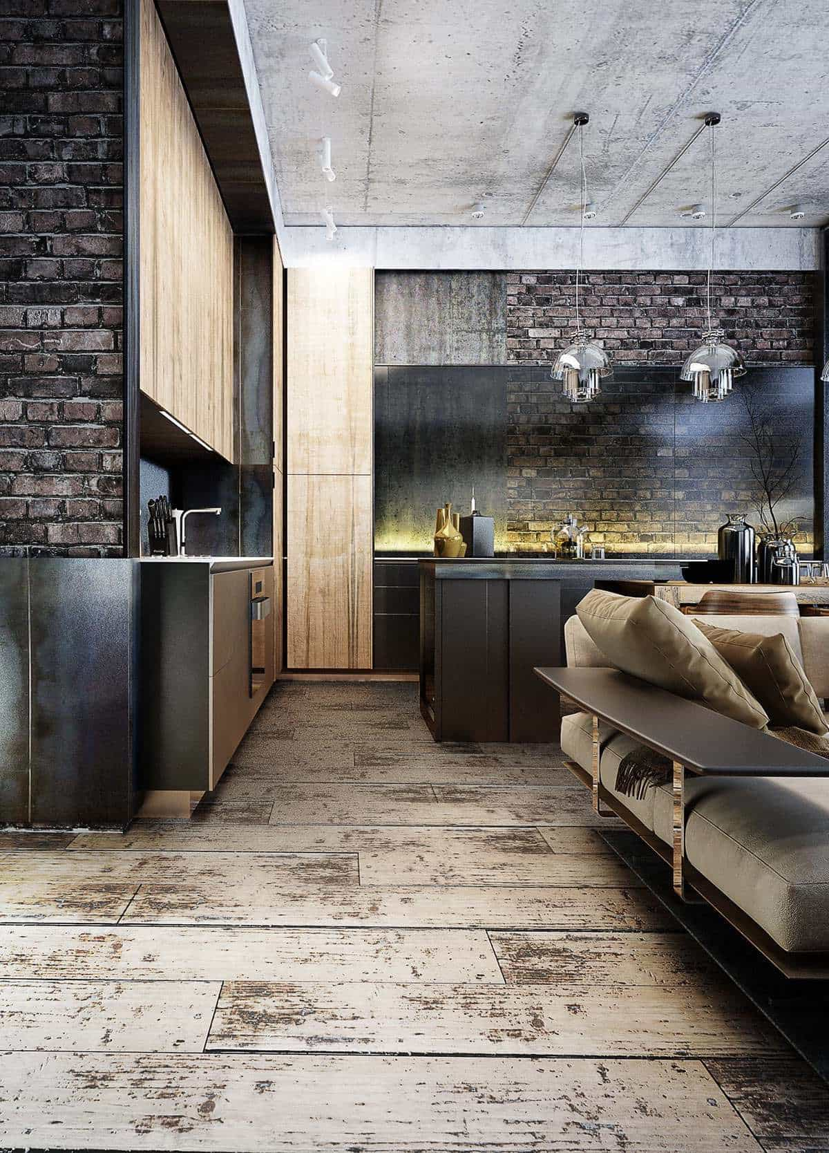 Как правило, в стиле лофт, бетонные потолки оставляют в первозданном виде