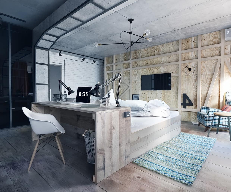 Натуральное дерево очень хорошо сочетается с бетоном, особенно если в комнате достаточно много естественного света