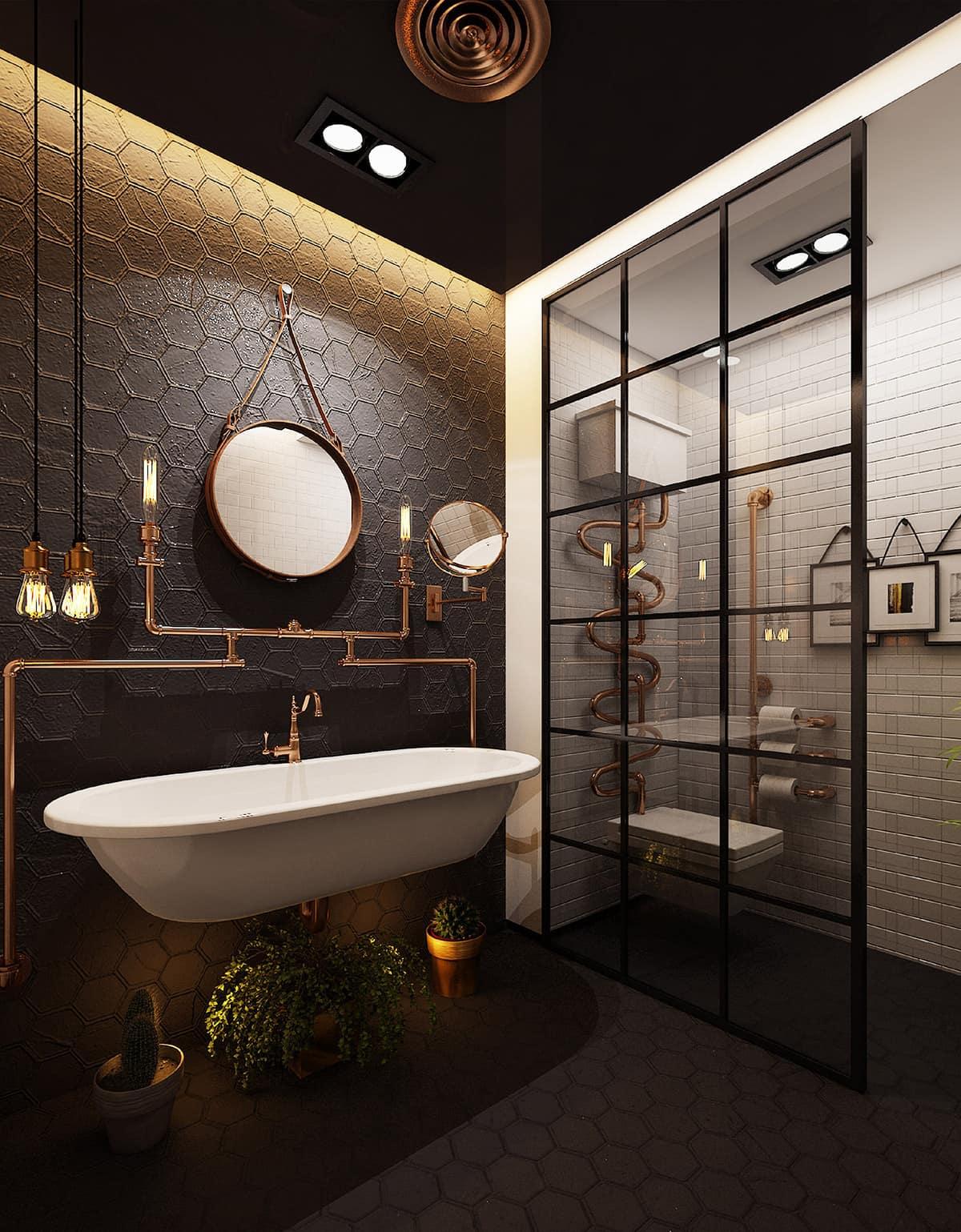 Дизайн ванной комнаты с красивой системой освещения и медными трубами выглядит поистине шикарным