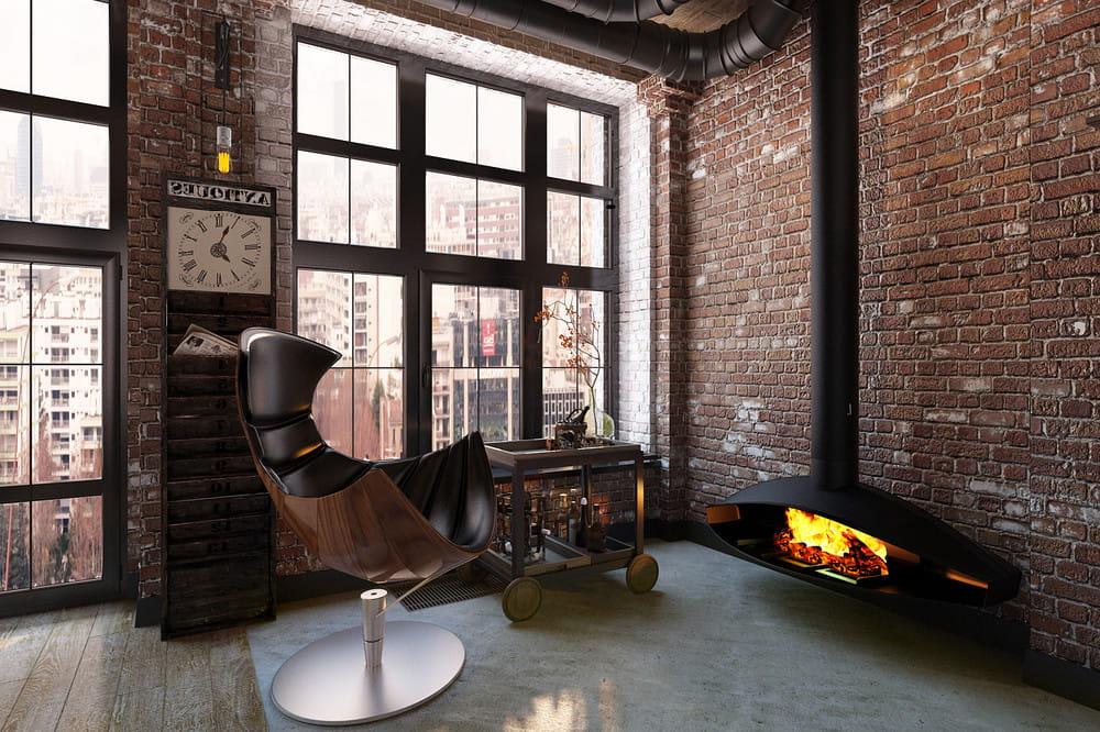 Гостиная с камином где присутствует только все самое нужное и необходимое для комфортного отдыха