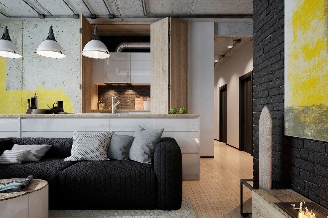 Эффектная кухня в стиле лофт с прекрасно организованной рабочей зоной