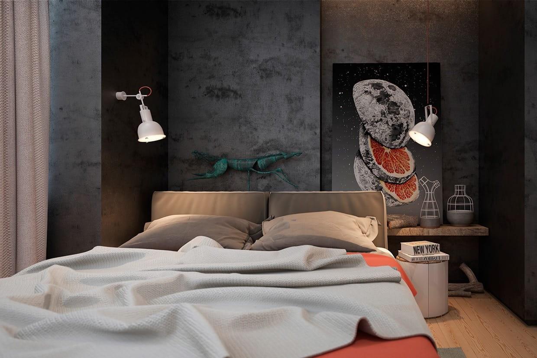 Стены в спальне лофт, выдержанные преимущественно в темных тонах, придают помещению элегантный и современный вид