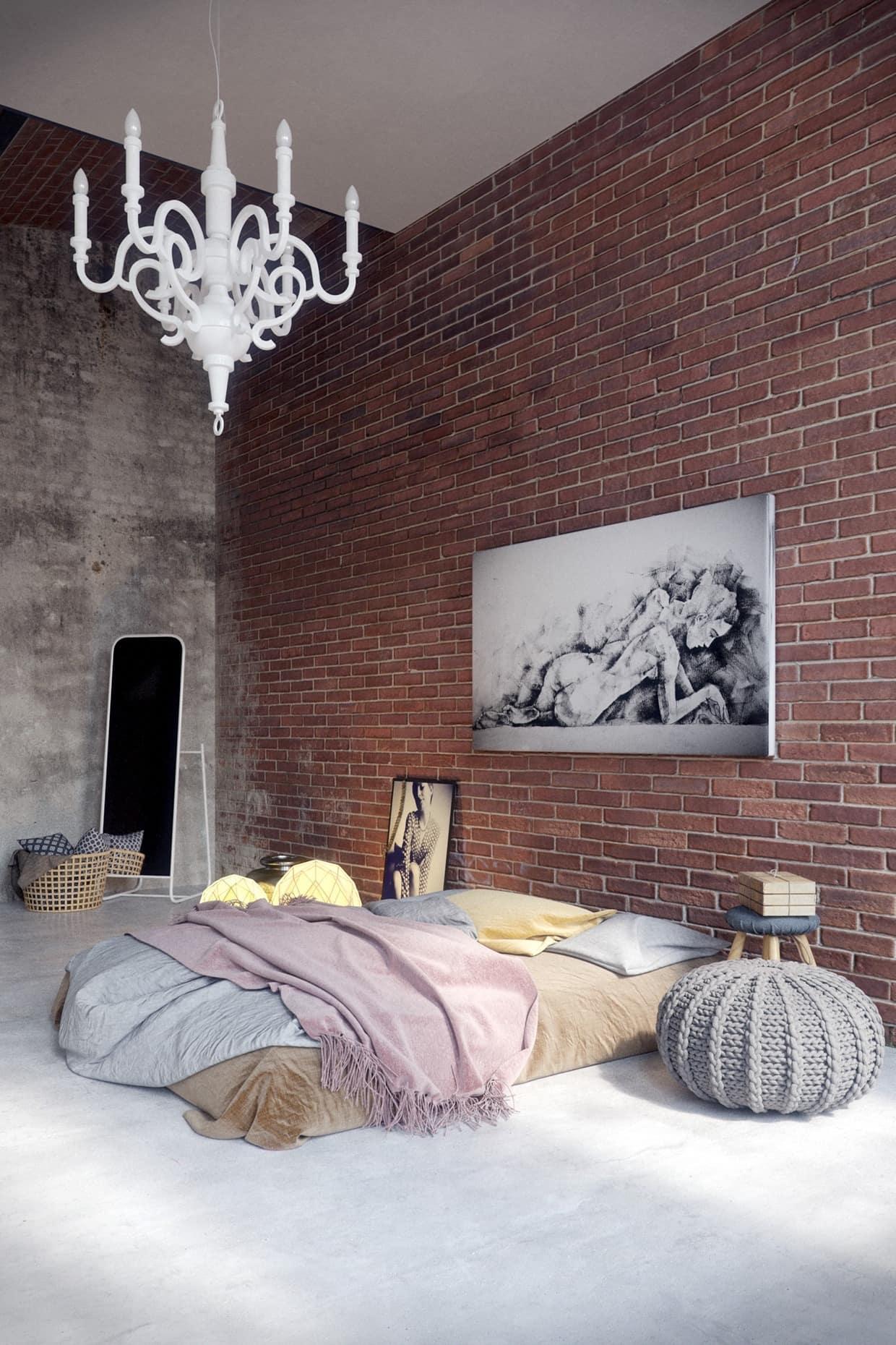 Подобный интерьер спальни прекрасно подойдет для поклонников лофт-минимализма