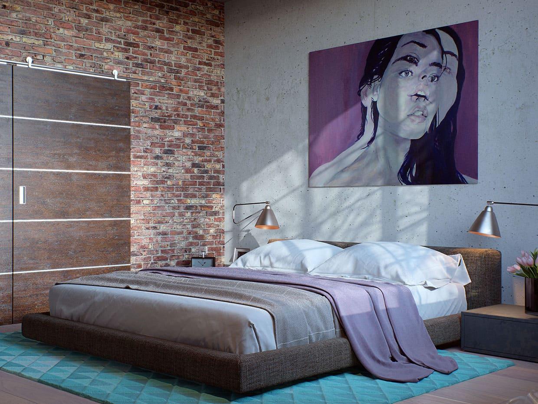 Голая бетонная стена послужит хорошим фоном для настенных элементов декора
