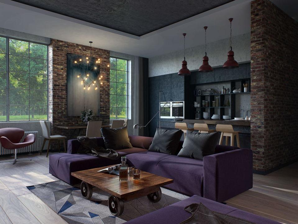 Стильный интерьер гостиной выполненный в ярких тонах коричневого и фиолетового цвета