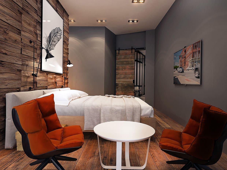 Мягкое теплое освещение придаст интерьеру спальни в лофт стиле особое настроение