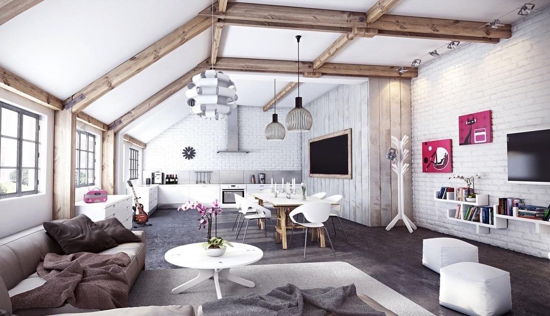 Деревянные балки на выбеленном потолке прекрасно подчеркивают интерьер в стиле лофт