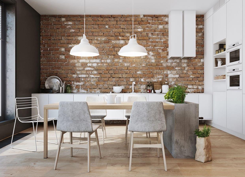 Простой и минималистичный дизайн кухни в стиле лофт