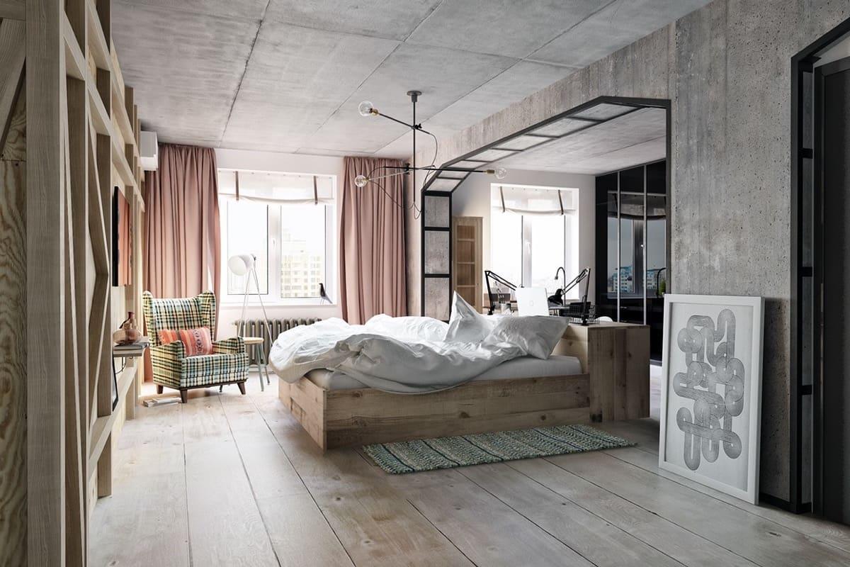 Традиционная отделка стен и потолка в спальне необработанным бетоном