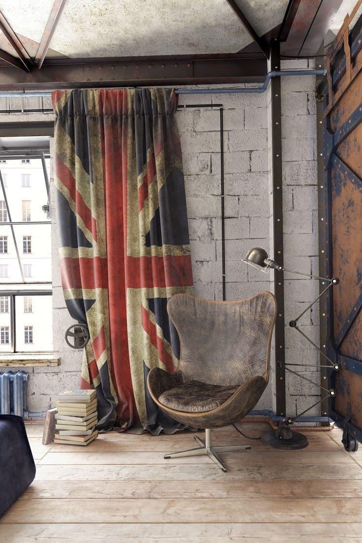 Современный лофт интерьер с нотками английского настроения