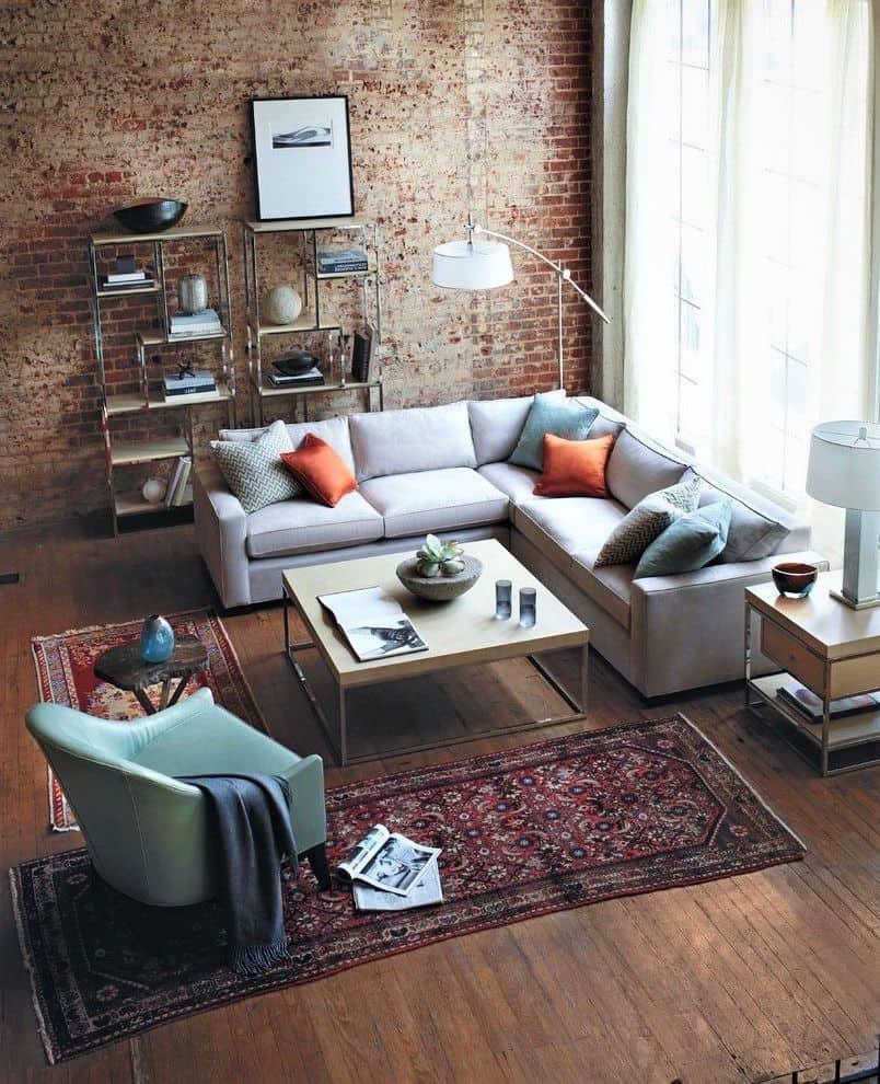 Классический вариант оформления гостиной в индустриальном стиле