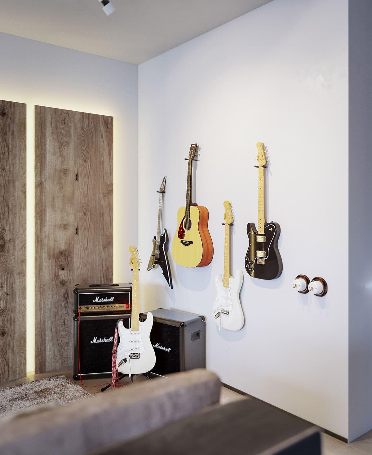Необычный и стильный дизайн комнаты для настоящего меломана
