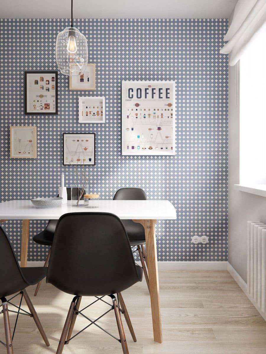 Серые обои в белый крестик станут отличным фоном для тематических картин на кухне