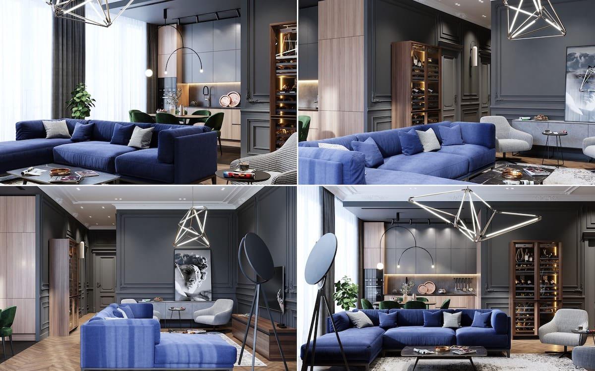 Интересная задумка оформления просторной гостной с обилием синего цвета
