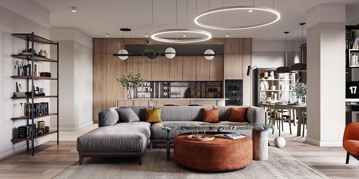 Красивый потолок с большими подвесными светодиодными люстрами в форме круга