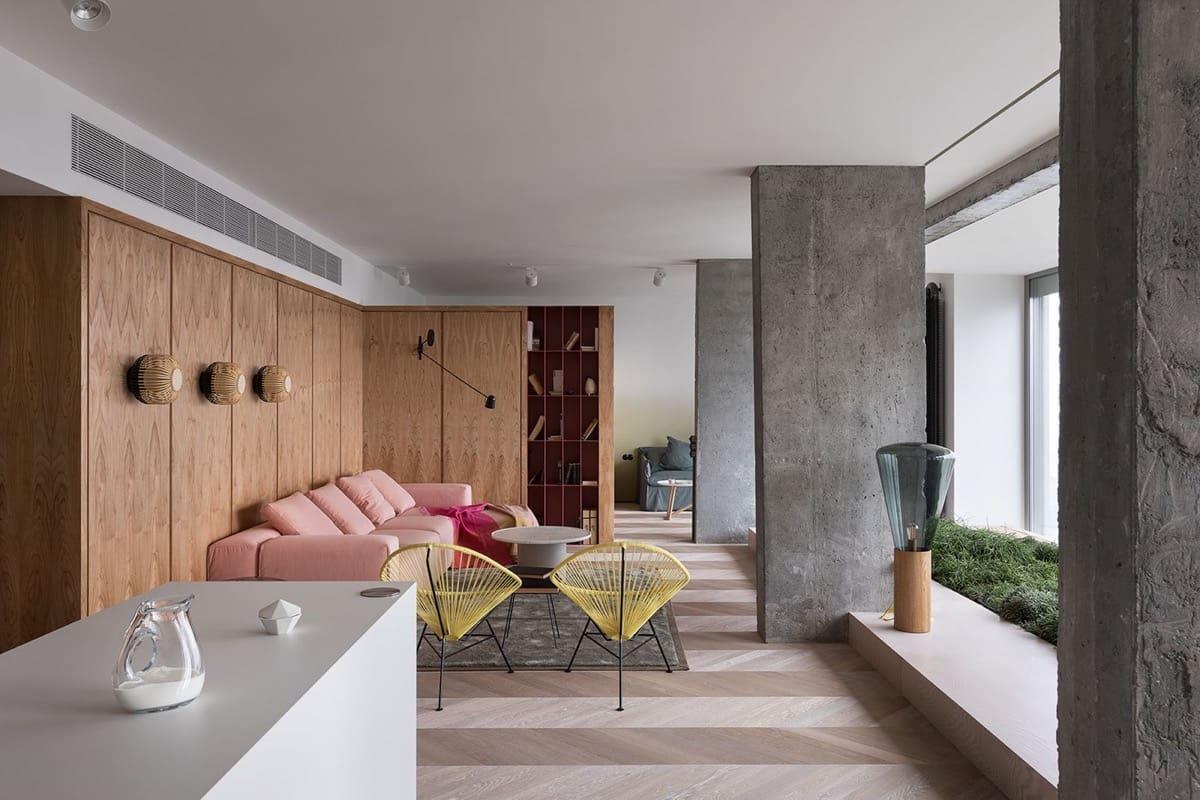 Натуральное дерево и серый бетон – отличная комбинация, создающая тепло и уют