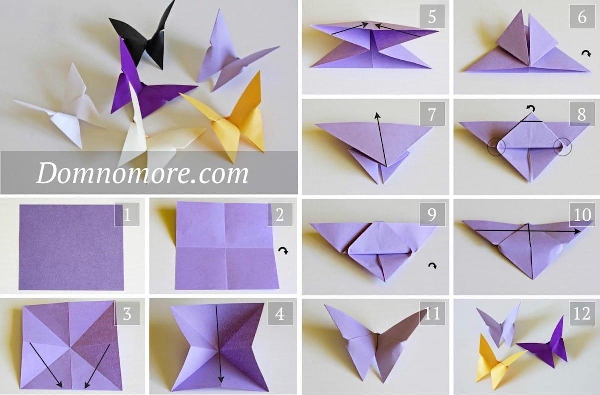 Процесс изготовления бумажной бабочки