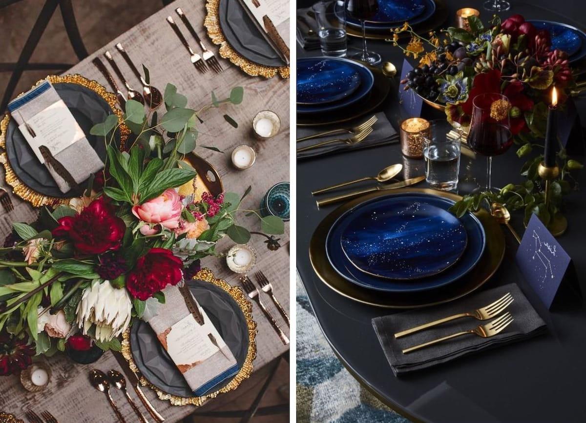 Элементы декора расставленные на столе должны хорошо гармонировать друг с другом