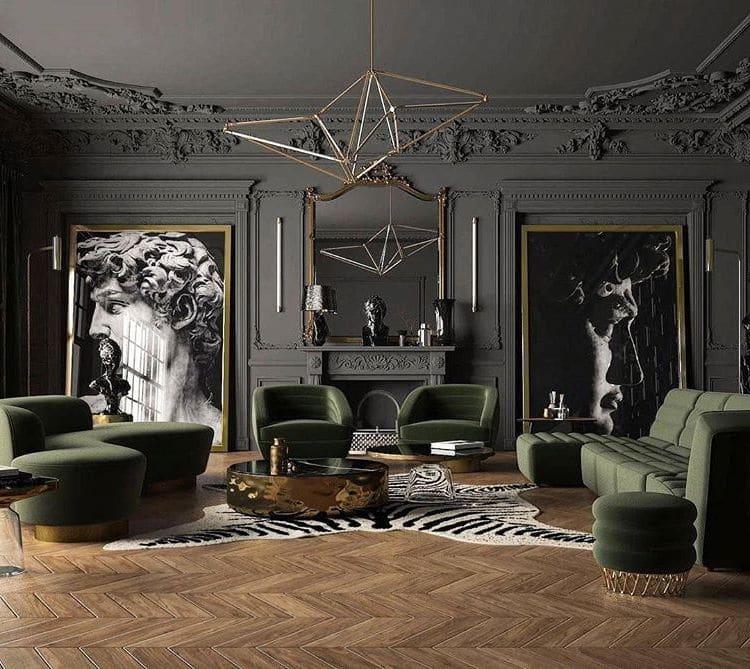 Стены с лепниной идеально подходят для гостиной в стиле ар-деко
