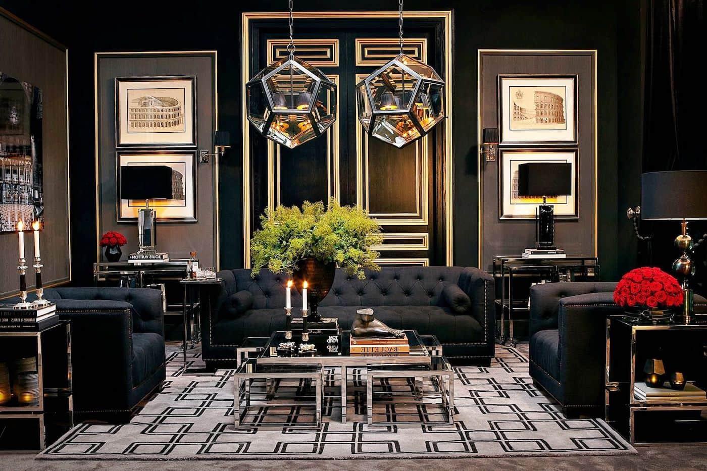 Роскошная гостиная с красивым и утонченным дизайном