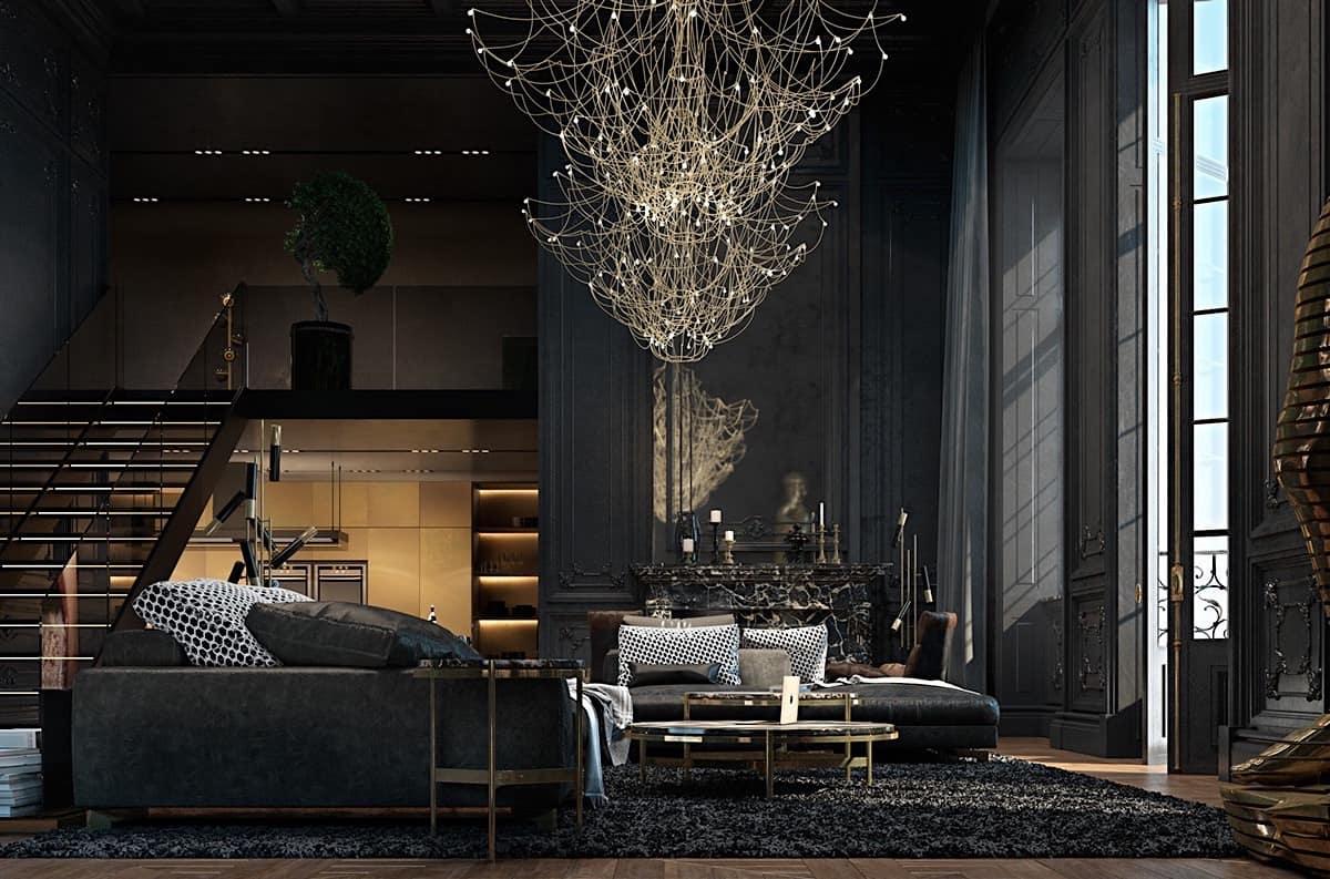 Большая люстра с эксклюзивным дизайном поможет придать гостиной экстравагантный и законченный вид