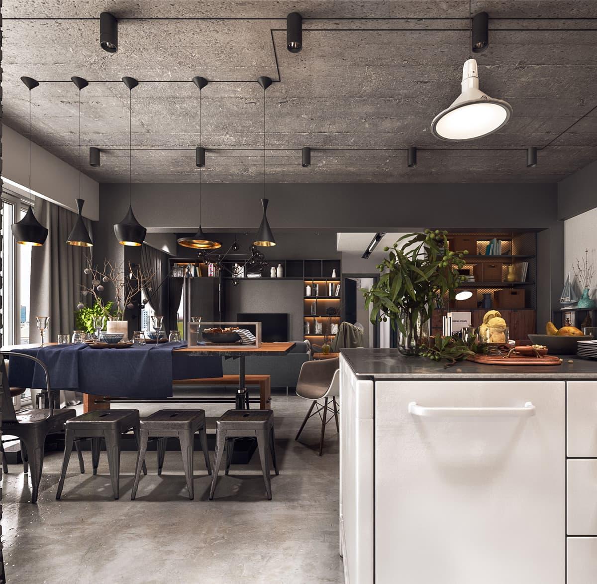 красивый дизайн потолка из бетона фото – 2