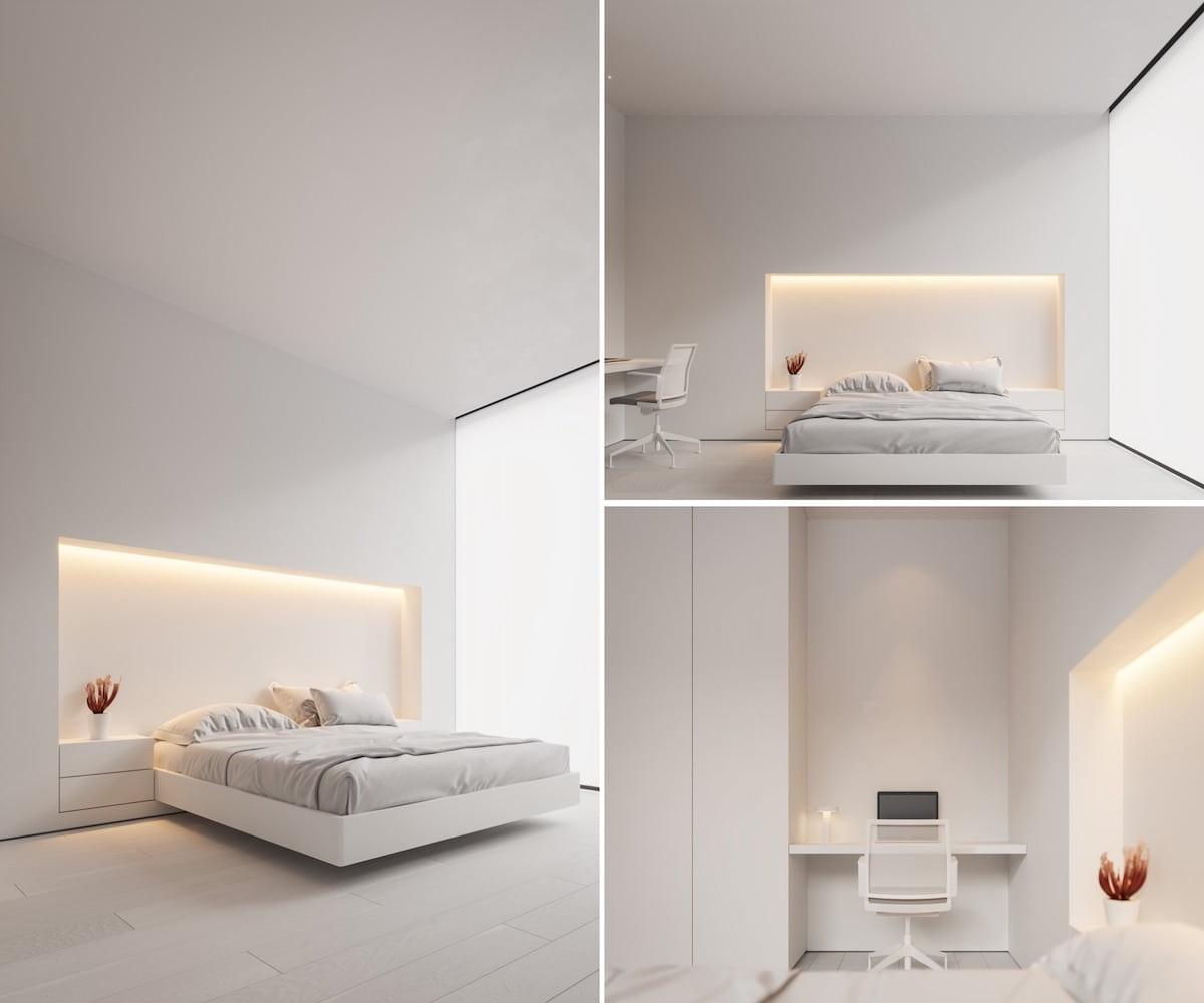 Вариант дизайна белоснежной спальни в классичиском направлении минимализма