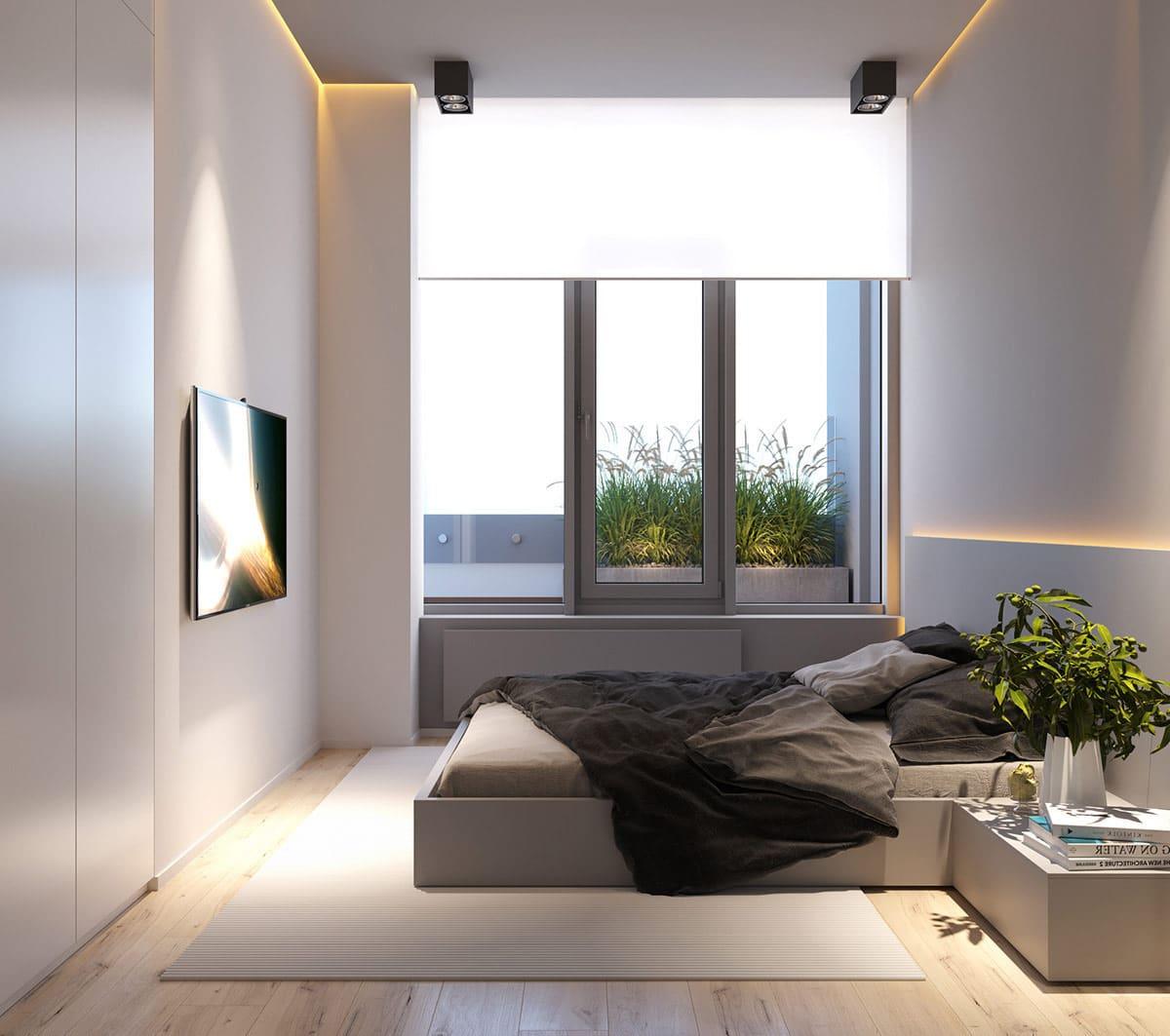 Скрытая светодиодная подсветка в спальне отлично сочетается со стилем минимализм