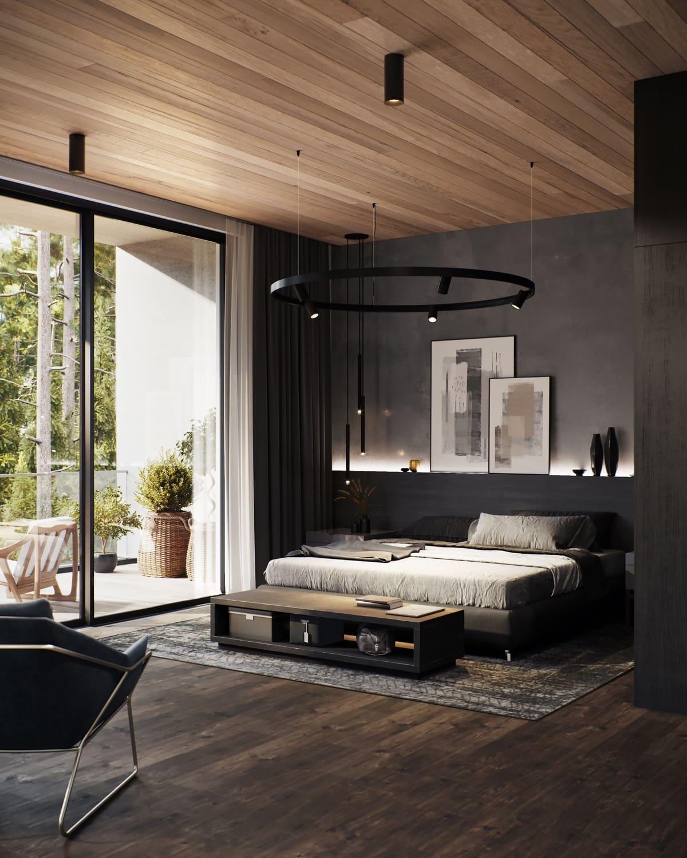 Модная спальня в современном стиле с красивым деревянным потолком