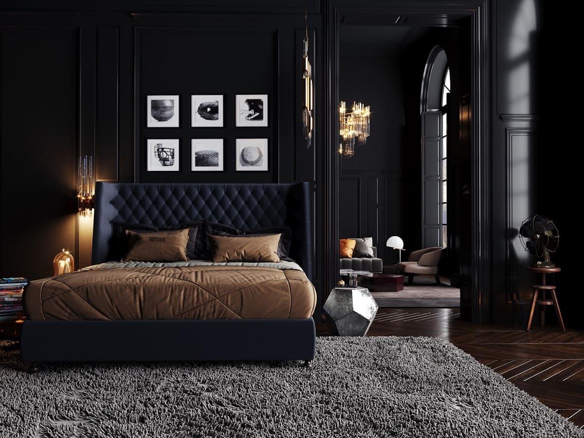 Гламурная спальня в черном цвете для истинных поклонников современной классики