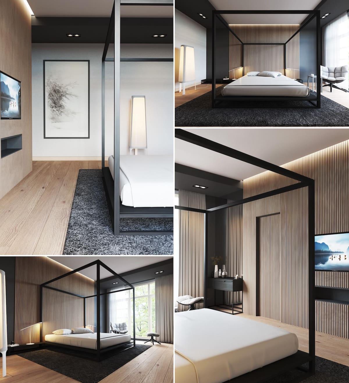 Интересный вариант оформления и выделения зоны кровати