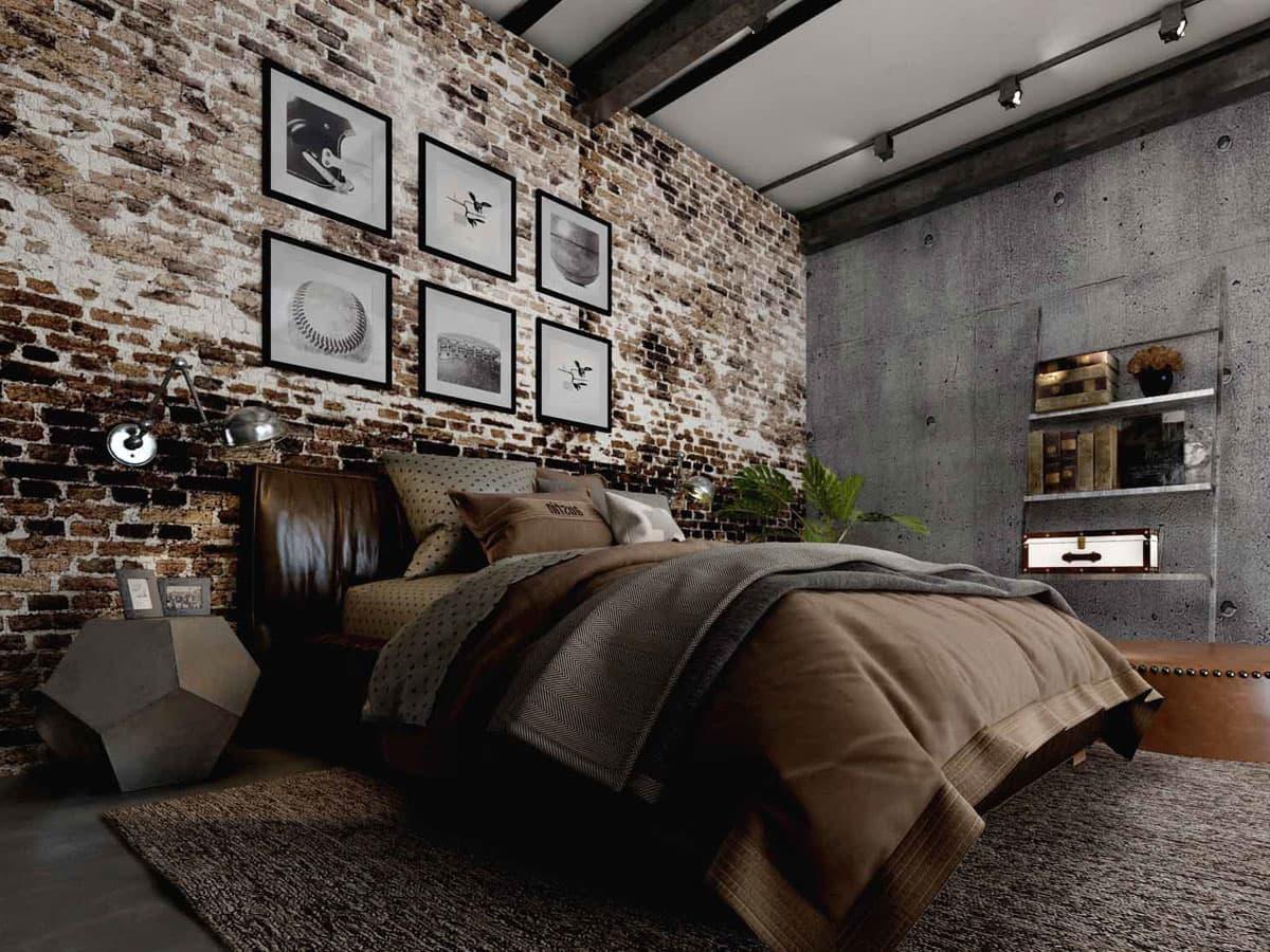 Красивая спальня идеально выдержанная в эстетике лофта