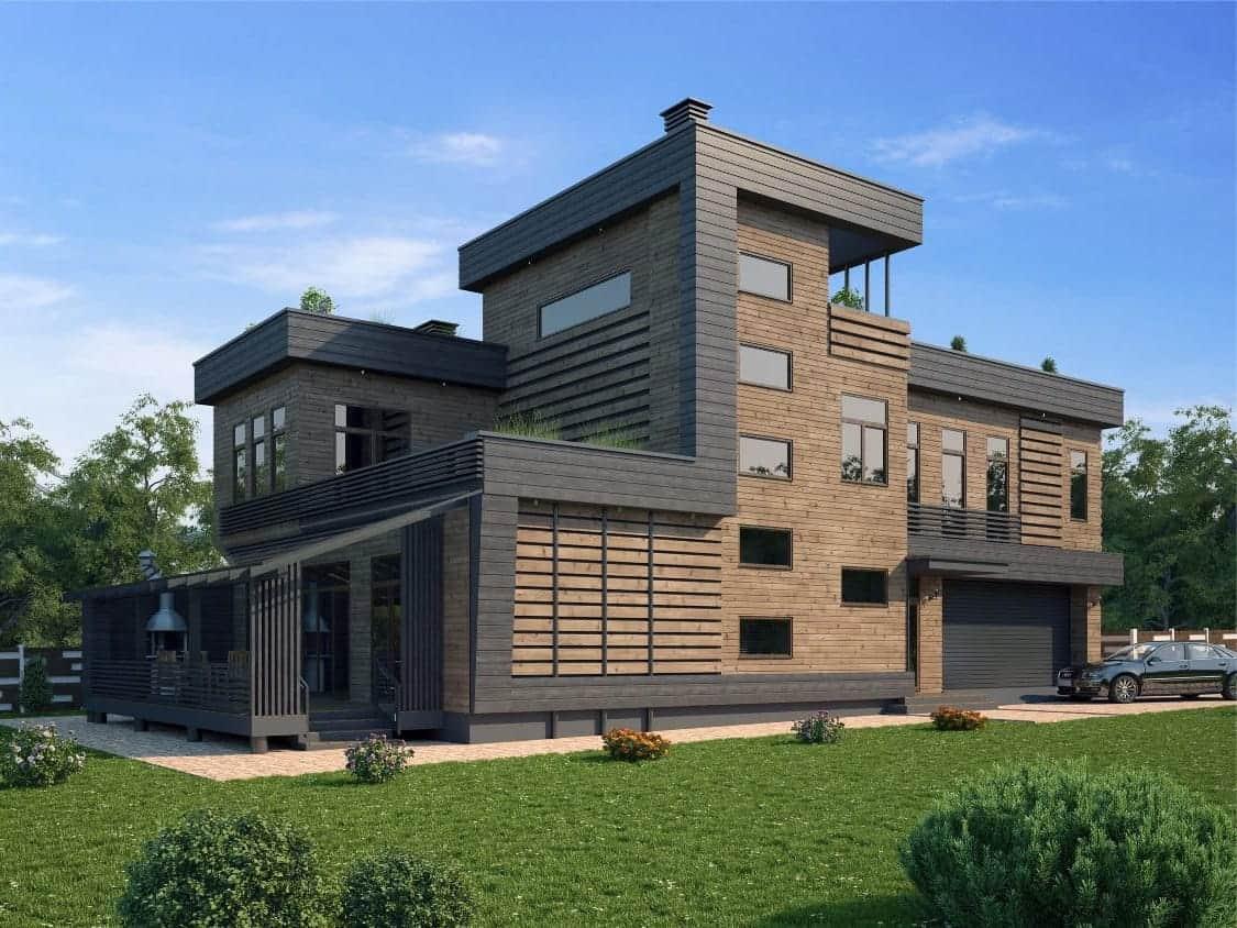 дом с плоской крышей в стиле конструктивизм фото 25