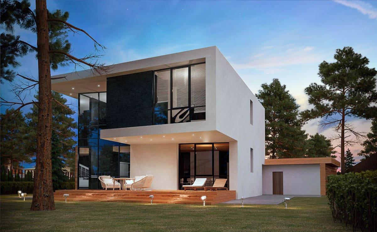 дом с плоской крышей в стиле хай тек фото 27