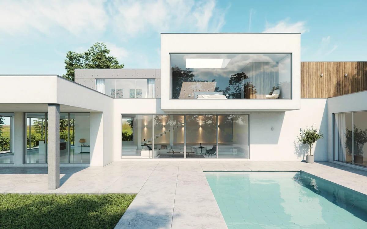 дома с плоской крышей в стиле минимализм фото 35