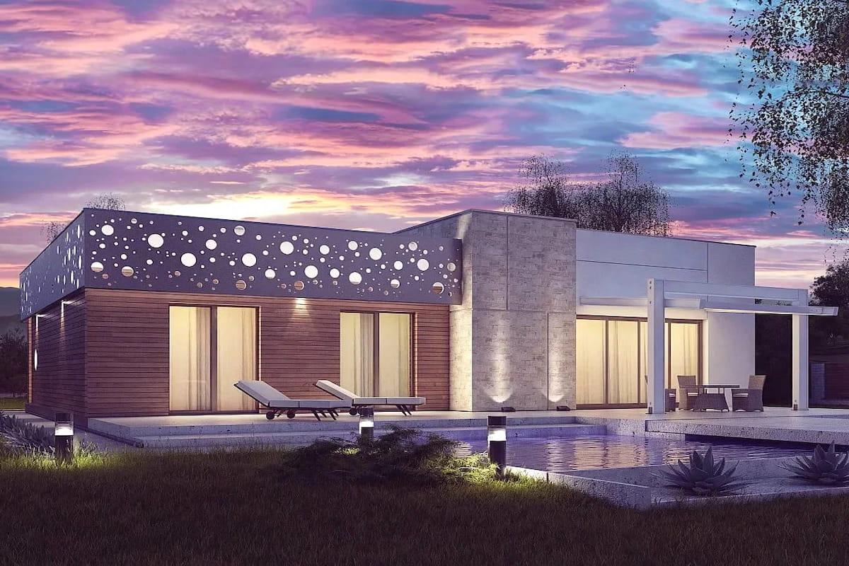 одноэтажный дом с плоской крышей фото 18