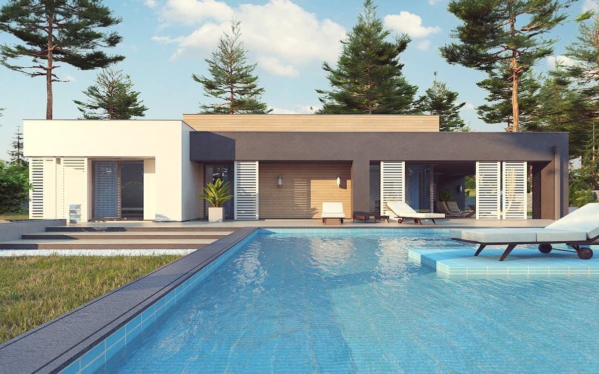 одноэтажный дом с плоской крышей фото 21