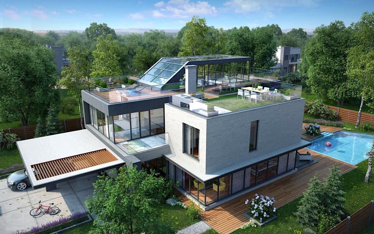дом с плоской крышей фото 11