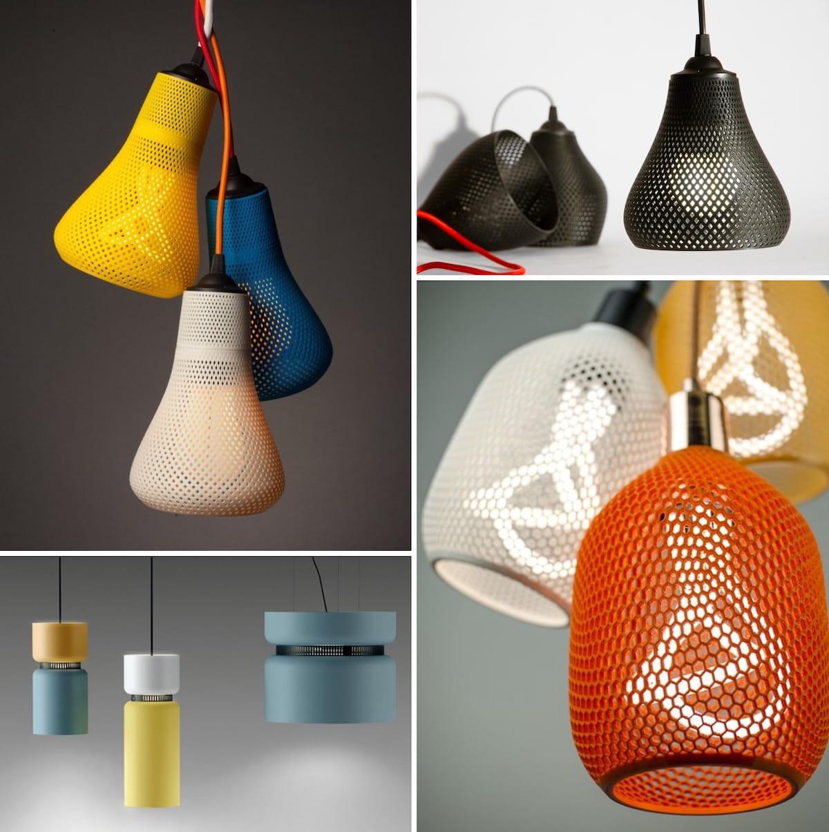 Яркие светильники с контрастными цветами