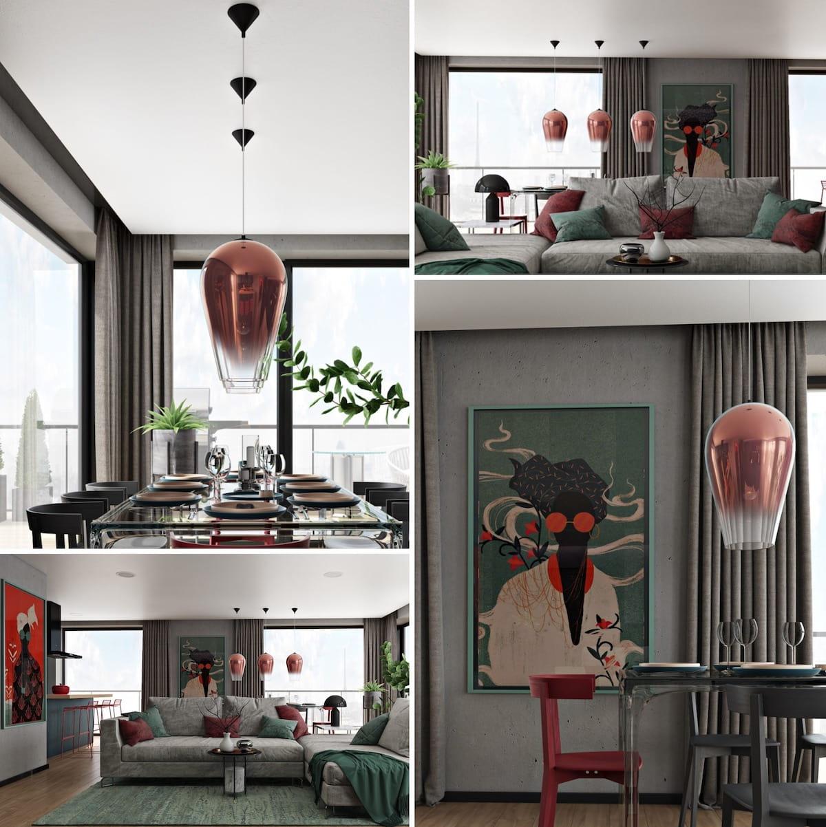 Современные тенденции оформления интерьеров прослеживаются в каждом сантиметры этой комнаты