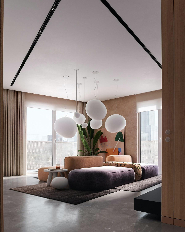 Красивые потолочные светильники в виде белых шаров парящих в воздухе