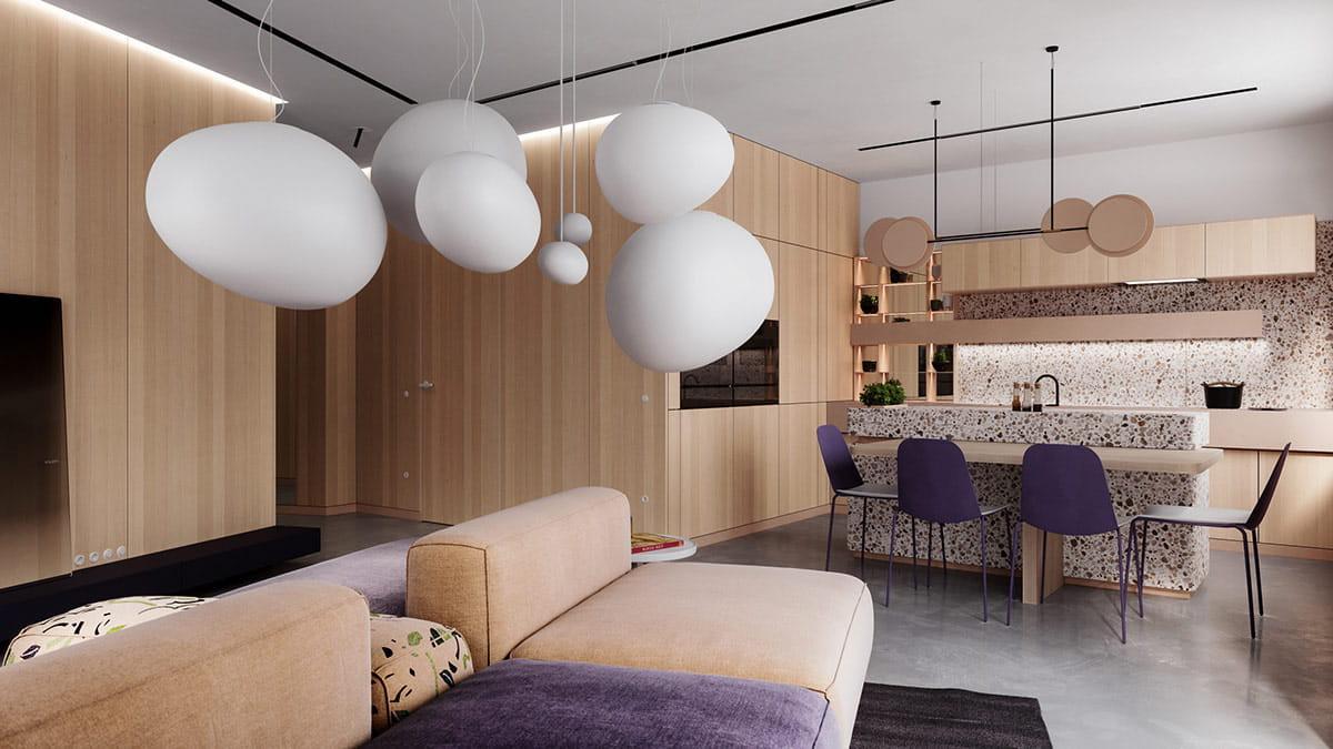 Стильный интерьер гостиной в теплых тонах