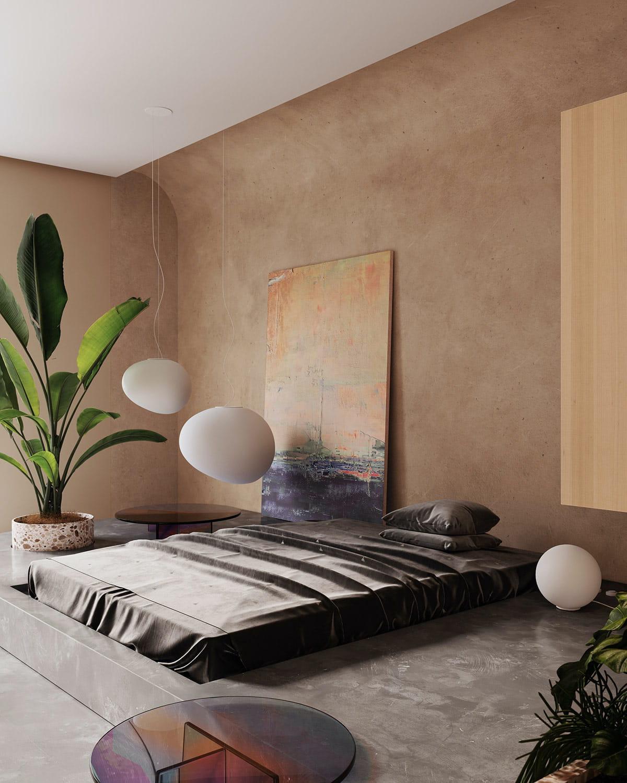 Спальня в стиле минимализм с эффектным освещением